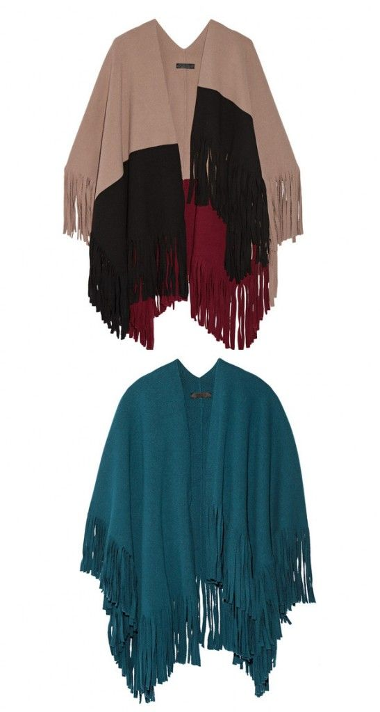 Burberry Prorsum color-block fringed wool poncho available at NET-A-PORTER
