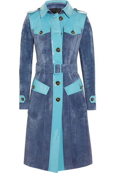 + Indigo blue patent-leather paneled suede trench coat available at NET-A-PORTER