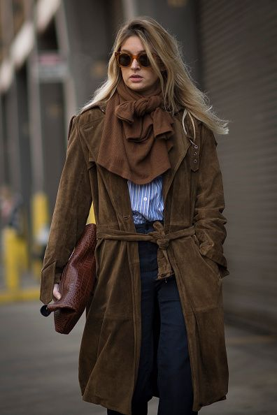 Camille Charrière on the treets of Manhattan on February 19, 2015 in New York City.