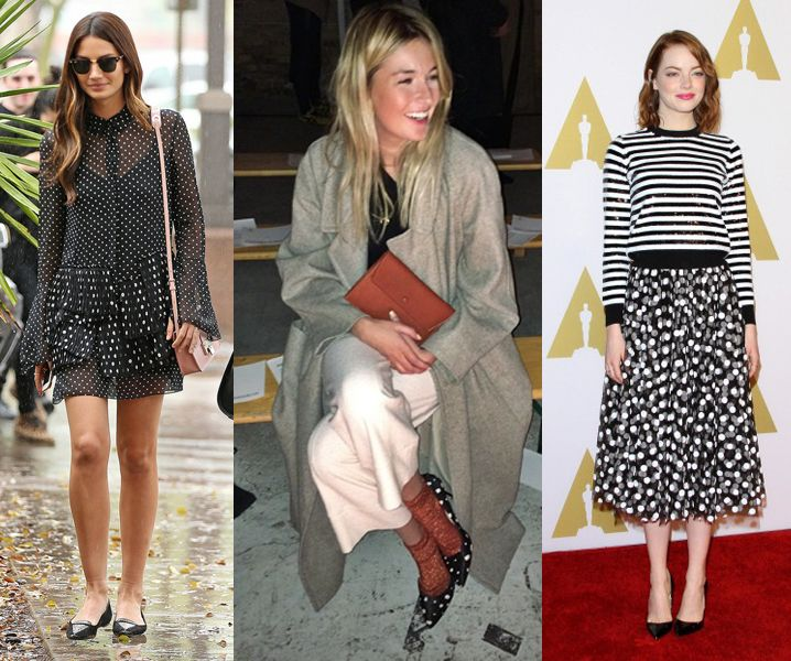 Model Lily Aldridge, fashion blogger Camille Charrière and actress Emma Stone all in polka-dot outfits (dress, stilettos and skirt)