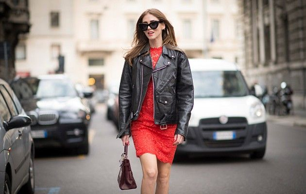 5ad5735cd198 Get Chiara Ferragnis  Valentino red lace knit dress and Anya Hindmarch  textured-leather stickers  MFW