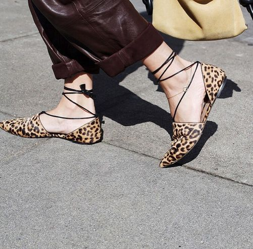 Gala Gonzalez loves her Gianvito Rossi leopard-print calf hair point-toe flats