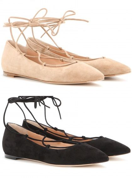 Gianvito Rossi black suede ballerinas available at MYTHERESA.com