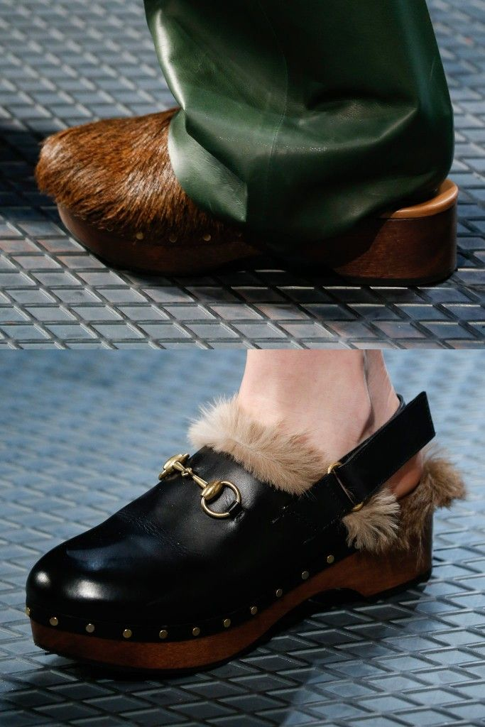 gucci-fall-2015-leather-and-hair-wooden-platform-clogs