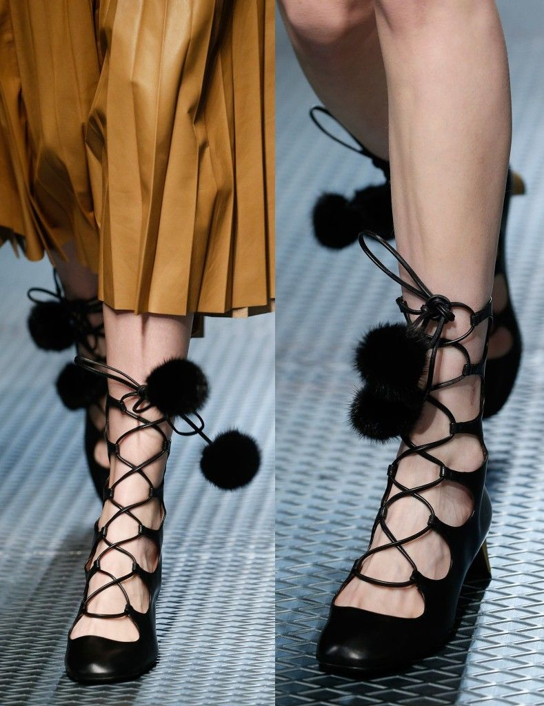 Gucci heloise lace-up boots with mink pom poms available at GUCCI.com