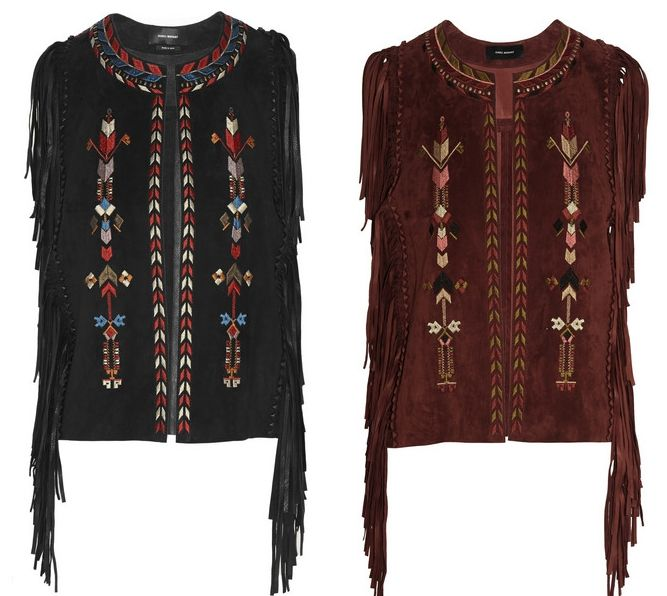 Isabel Marant fringed embroidered suede vests