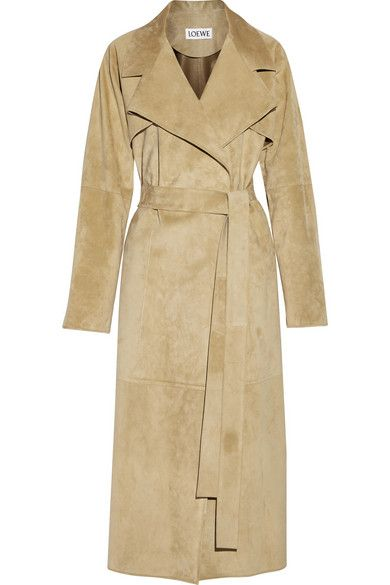 Loewe suede trench coat available at NET-A-PORTER