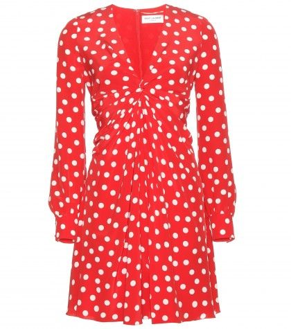 Saint Laurent red and white polka dot silk mini dress available at MYTHERESA.com