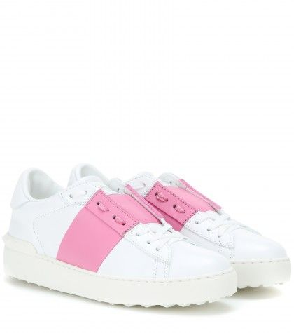 Valentino open leather sneakers with pink stripe available at MYTHERESA.com