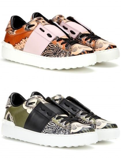Valentino open printed leather sneakers