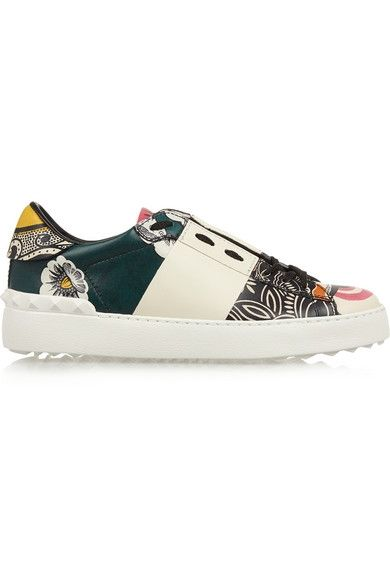 + Valentino printed leather sneakers available at NET-A-PORTER