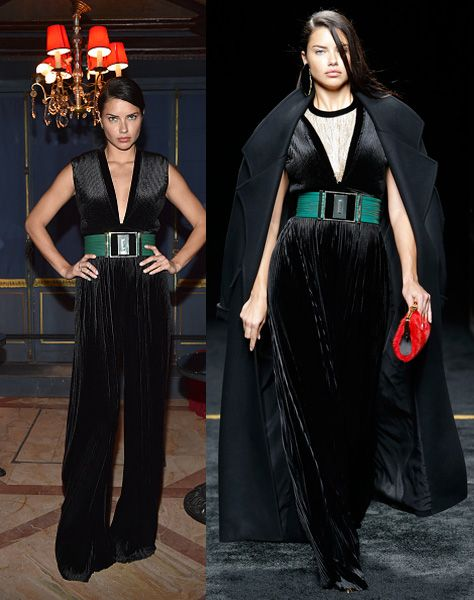 Adriana Lima with the same jumpsuit in which she walked down the runway minutes before