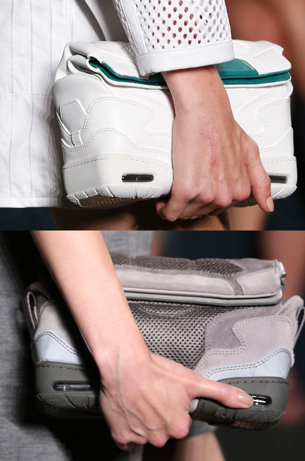 White sneaker suede and mesh cross-body bag available at MATCHESFASHION.com