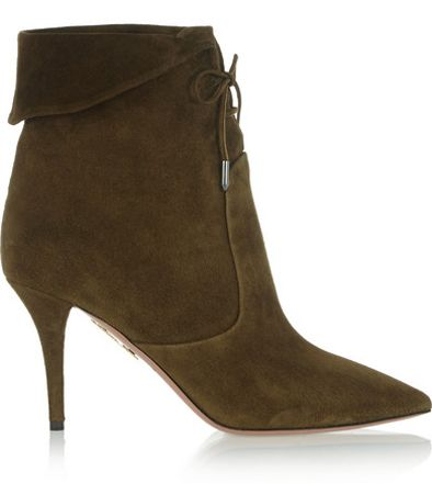 Olivia's Aquazzura dark olive suede ankle boots are available at NET-A-PORTER