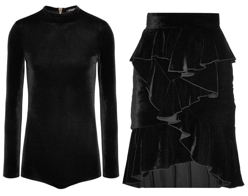 Kendall's velvet bodysuit is available at NET-APORTER and her ruffled mini skirt is available at NET-A-PORTER