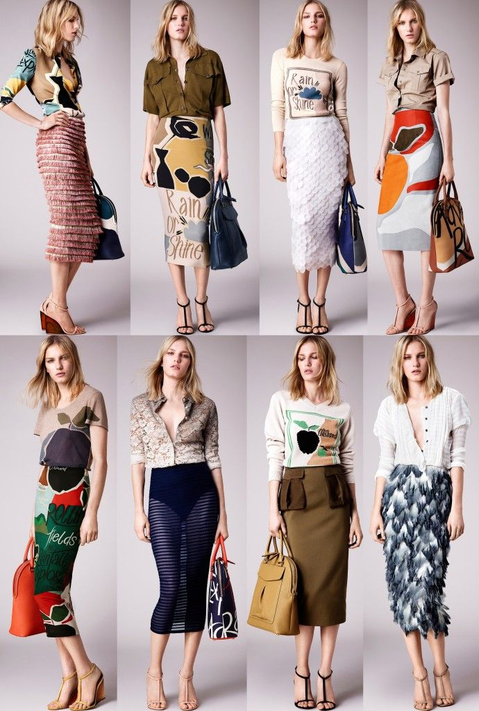 Burberry Prorsum Resort 2015 pencil skirts