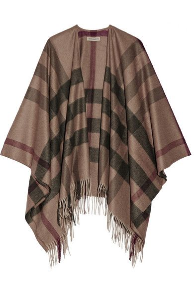 Burberry checked cashmere and wool-blend cape available at NET-A-PORTER
