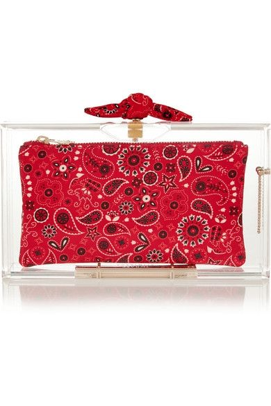 Charlotte Olympia bandana perspex clutch available at NET-A-PORTER
