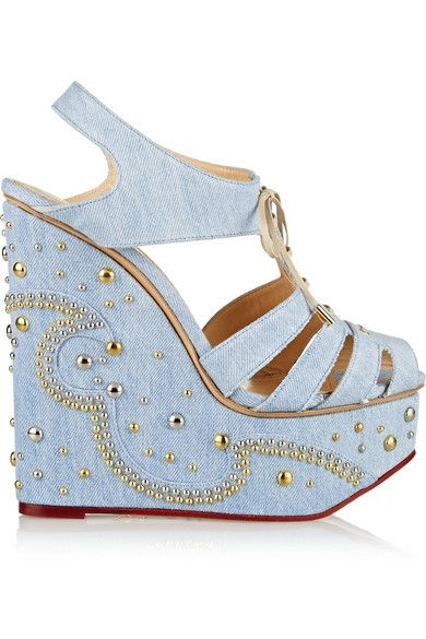 Charlotte Olympia Gene embellished light-washed denim wedge sandals