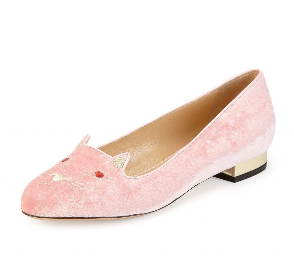Charlotte Olympia Kitty pink velver slippers are available at NEIMAN MARCUS