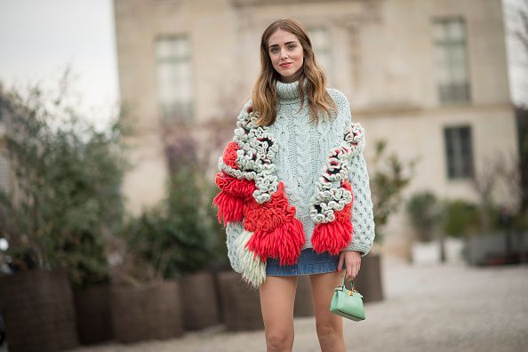 Chiara Ferragni's water green Fendi micro pekaabog bag is available at SAKS