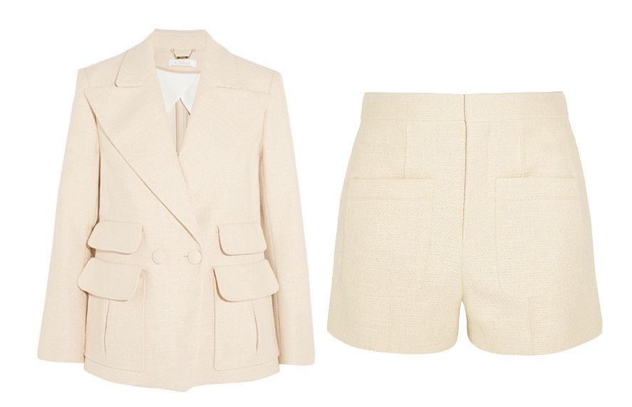 Chloé cream woven and stretch-cotton
