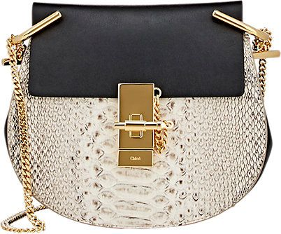 Chloé Drew black smooth leather and ivory sueded python shoulder bag available at BARNEY'S