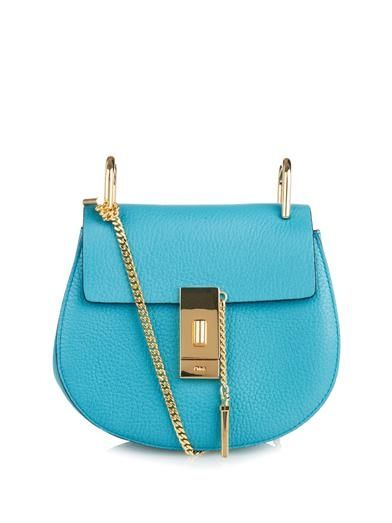 Chloé Drew Mini sky-blue textured-leather shoulder bag available at MATCHESFASHION.com