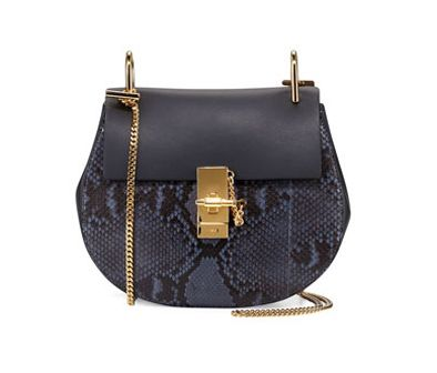 Chloé Drew small black and navy python shoulder bag available at NEIMAN MARCUS