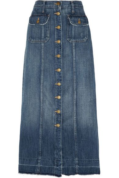 Current/Elliott Sally denim midi skirt available at NET-A-PORTER