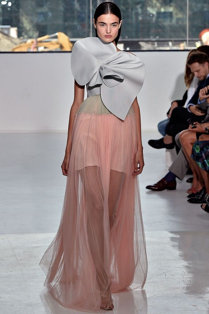 Delpozo strapless twill and tulle gown available at NET-A-PORTER