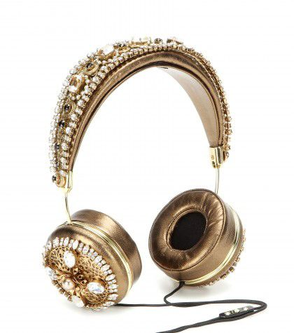 Dolce & Gabbana embellished goldmetallic leather headphones available at MYTHERESA.com