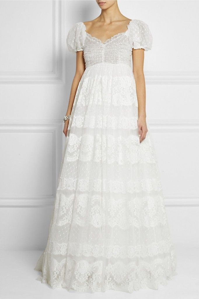 Dolce & Gabbana white lace appliquéd embroidered tulle gown exclusive to NET-A-PORTER