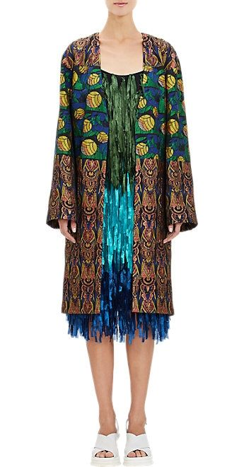 Dries Van Noten Jacquard open-front coat available at BARNEY'S