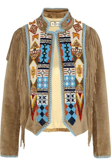 Etro fringed beaded suede jacket available at NET-A-PORTER