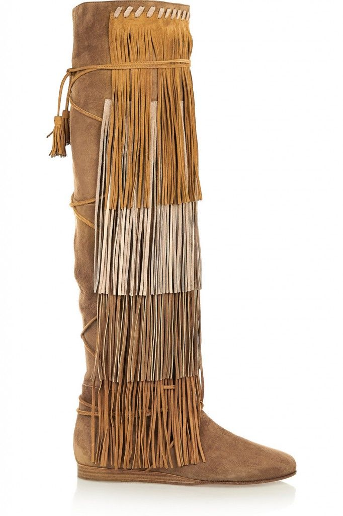 Etro fringed suede knee boots available at NET-A-PORTER