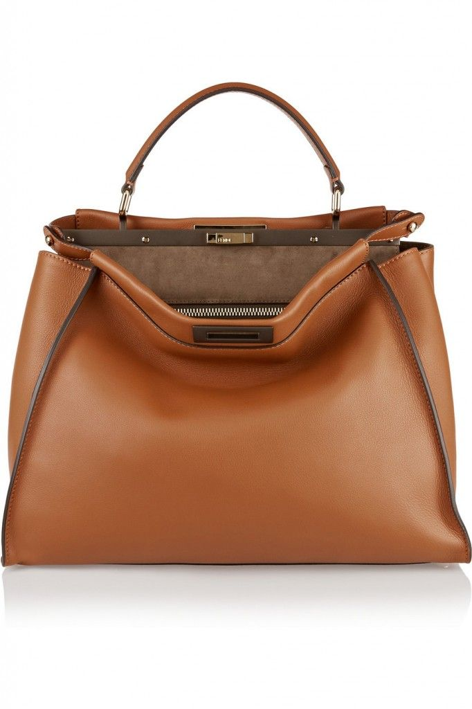 Fendi Peekaboo lare tan leather tote available at NET-A-PORTER