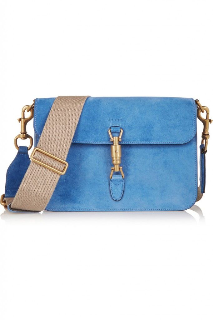Gucci Jackie blue suede shoulder bag available at NET-A-PORTER