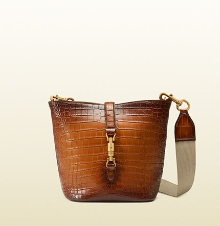 Gucci Jackie soft hand stained crocodile leather bucket bag available at GUCCI.com