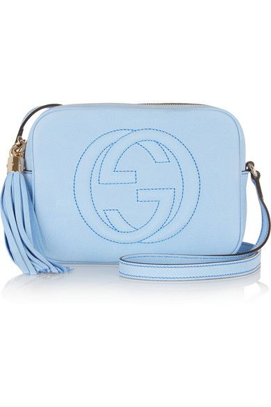 Gucci Soho mineral-blue soft nucuck shoulder bag with tassel avaialble at NET-A-PORTER