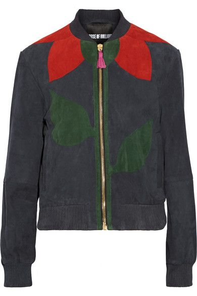 House of Holland paneled suede bomber jacket available at NET-A-PORTER