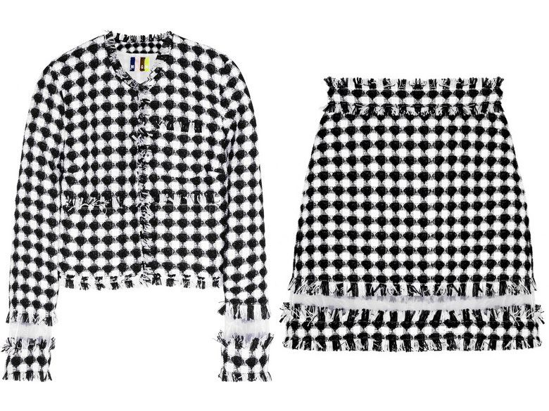 MSGM organza-paneled gingham tweed jacket available at NET-A-PORTER
