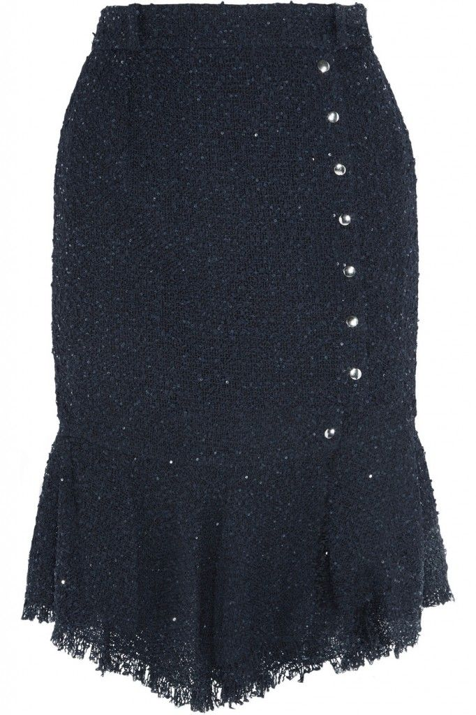 Nina Ricci sequined boucl-e-tweed skirt available at NET-A-PORTER