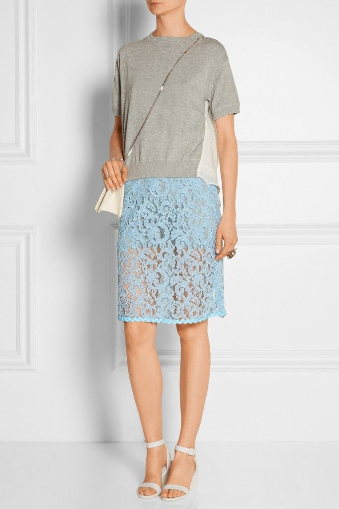Sacai lace pencil skirt  available at NET-A-PORTER