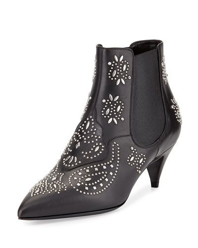 Saint Laurent bandana stud leather ankle boots available at