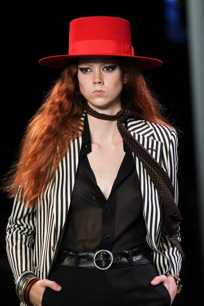 Saint Laurent flat-brimmed rabbit felt red hat available at MATCHESFASHION.com