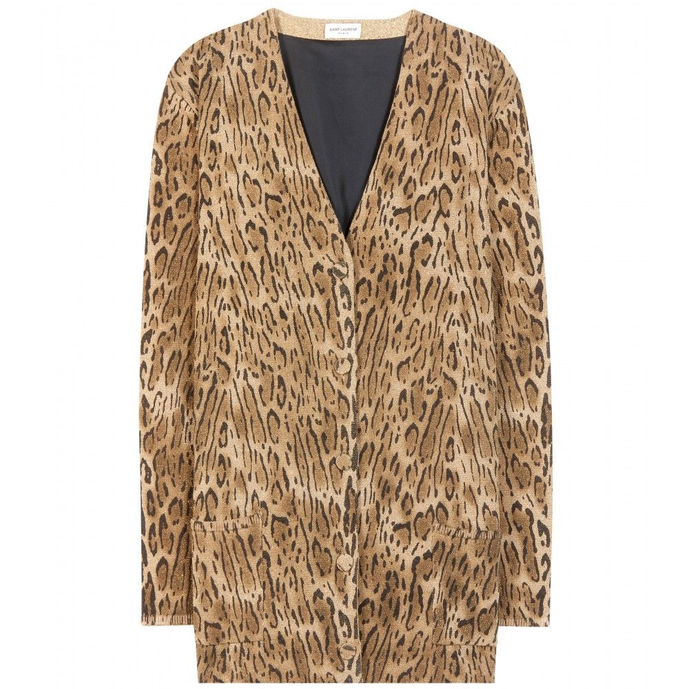 Even though the colecction did not go on pre-sale, you can actually buy this Saint Laurent leopard-print lamé wool cardigan from MYTHERESA.com