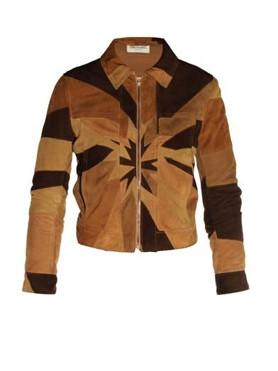 Saint Laurent patchwork suede jacket available at MATCHESFASHION.com