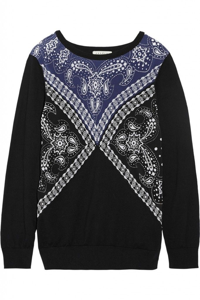 Sandro bandana print silk, cotton and wool-blend sweater available at THE OUTNET
