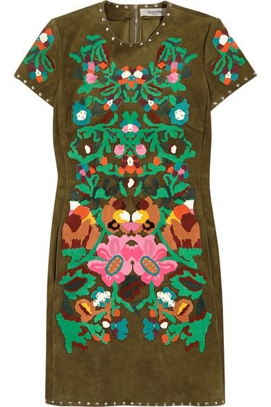 Valentino floral-appliquéd suede mini dress available at NET-A-PORTER